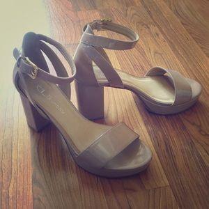 Patent Nude Ankle Strap Platform Heels